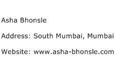 Asha Bhonsle Address Contact Number