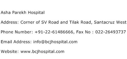 Asha Parekh Hospital Address Contact Number