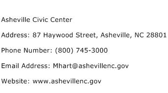 Asheville Civic Center Address Contact Number
