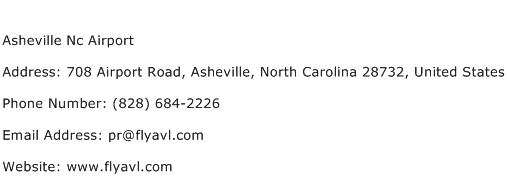Asheville Nc Airport Address Contact Number