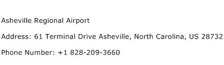 Asheville Regional Airport Address Contact Number