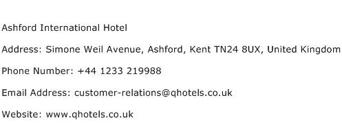 Ashford International Hotel Address Contact Number