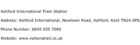 Ashford International Train Station Address Contact Number
