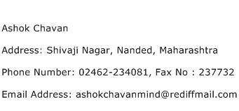Ashok Chavan Address Contact Number