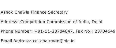 Ashok Chawla Finance Secretary Address Contact Number