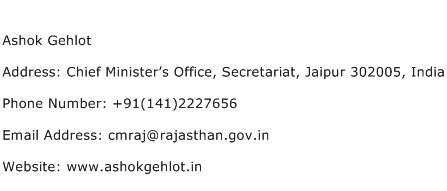 Ashok Gehlot Address Contact Number