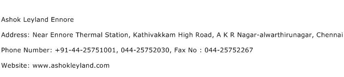 Ashok Leyland Ennore Address Contact Number