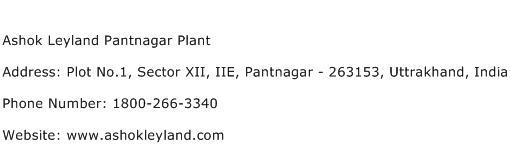 Ashok Leyland Pantnagar Plant Address Contact Number