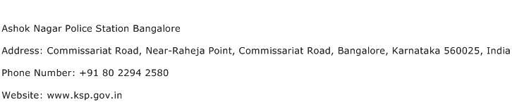 Ashok Nagar Police Station Bangalore Address Contact Number