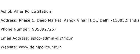 Ashok Vihar Police Station Address Contact Number