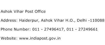Ashok Vihar Post Office Address Contact Number