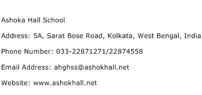 Ashoka Hall School Address Contact Number