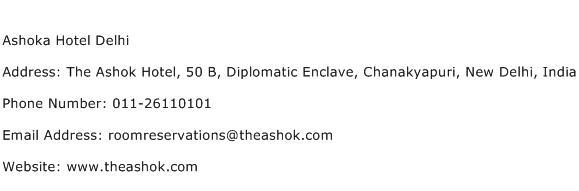Ashoka Hotel Delhi Address Contact Number
