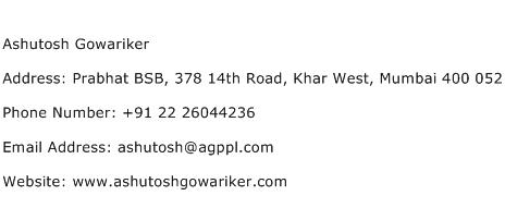 Ashutosh Gowariker Address Contact Number