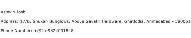 Ashwin Joshi Address Contact Number