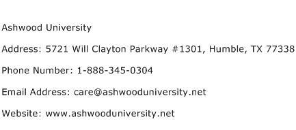 Ashwood University Address Contact Number
