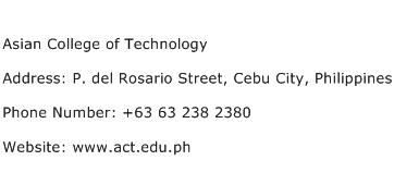 Asian College of Technology Address Contact Number