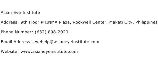 Asian Eye Institute Address Contact Number