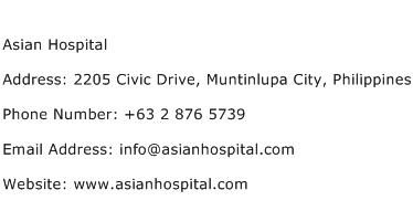 Asian Hospital Address Contact Number