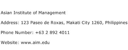 Asian Institute of Management Address Contact Number