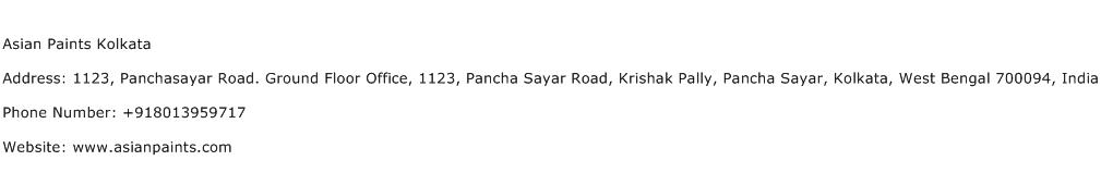Asian Paints Kolkata Address Contact Number