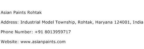 Asian Paints Rohtak Address Contact Number