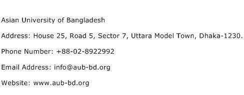 Asian University of Bangladesh Address Contact Number