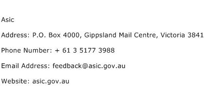 Asic Address Contact Number