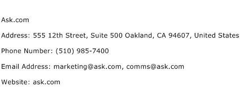 Ask.com Address Contact Number