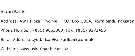 Askari Bank Address Contact Number