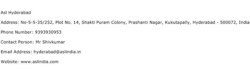 Asl Hyderabad Address Contact Number