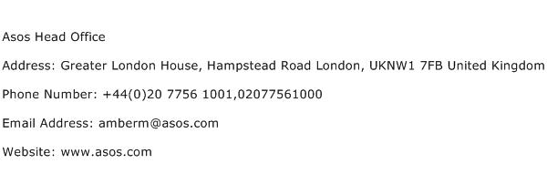 Asos Head Office Address Contact Number