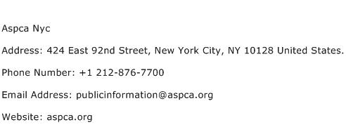 Aspca Nyc Address Contact Number