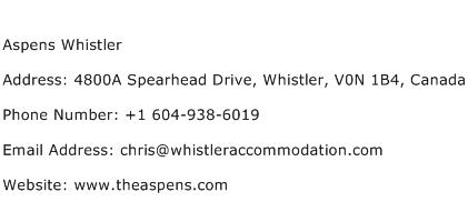 Aspens Whistler Address Contact Number