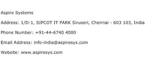 Aspire Systems Address Contact Number