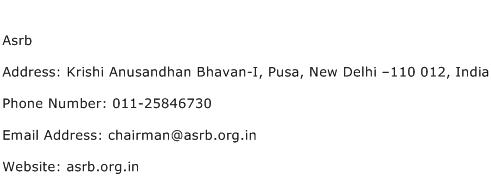 Asrb Address Contact Number