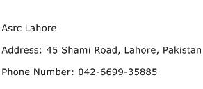 Asrc Lahore Address Contact Number