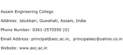 Assam Engineering College Address Contact Number