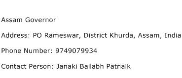 Assam Governor Address Contact Number
