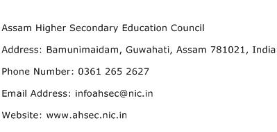 Assam Higher Secondary Education Council Address Contact Number