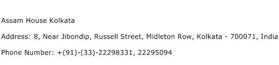 Assam House Kolkata Address Contact Number