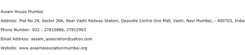 Assam House Mumbai Address Contact Number