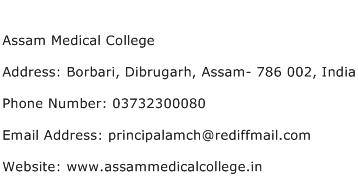 Assam Medical College Address Contact Number