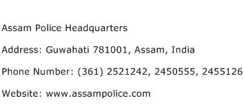 Assam Police Headquarters Address Contact Number