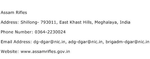 Assam Rifles Address Contact Number