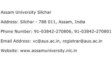 Assam University Silchar Address Contact Number