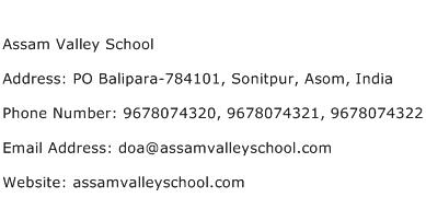 Assam Valley School Address Contact Number
