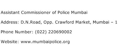Assistant Commissioner of Police Mumbai Address Contact Number