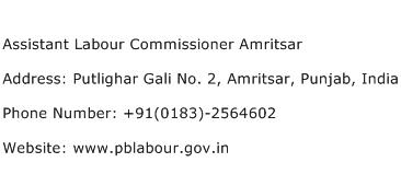 Assistant Labour Commissioner Amritsar Address Contact Number