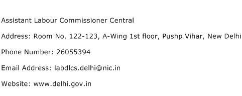 Assistant Labour Commissioner Central Address Contact Number